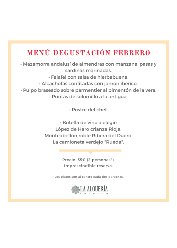 Menú Nochevieja 55€ - Taberna la Alquería